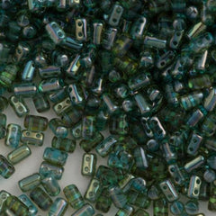 Czech Rulla 3x5mm Two Hole Beads Aquamarine Celsian 15g 60020Z