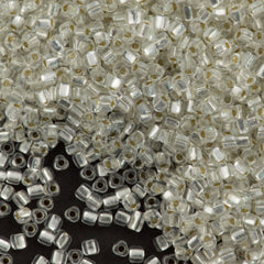 Miyuki Triangle Seed Bead 5/0 Transparent Silver Lined Clear 21g Tube (1101)