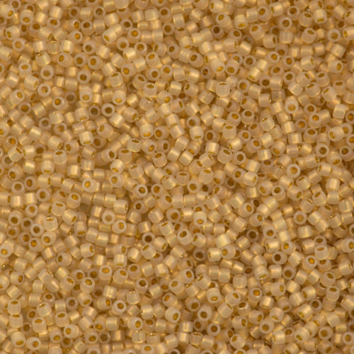 Miyuki Delica Seed Bead 15/0 24kt Gold Lined Cream Opal 2-inch Tube DBS230