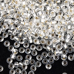 Miyuki Round Seed Beads 5/0 Silver Lined Crystal 20g-Tube (131S)