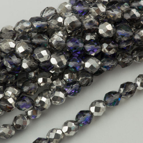 50 Czech Fire Polished 6mm Round Bead Silver Blue Crystal (28003)