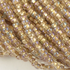 Czech Seed Bead Crystal Bronze Lined AB 1/2 Hank 11/0 (68506)