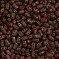 Czech Rulla 3x5mm Two Hole Beads Red Dark Travertin 15g (93200TD)