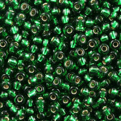 Miyuki Round Seed Beads 5/0 Silver Lined Green 30g (146S)
