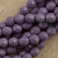 50 Czech Fire Polished 8mm Round Bead Opaque Amethyst (23020)