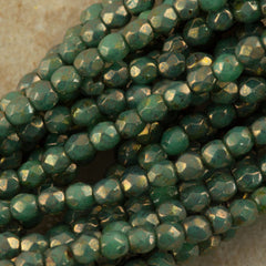 100 Czech Fire Polished 3mm Round Bead Metallic Green Turquoise Picasso (53130BT)