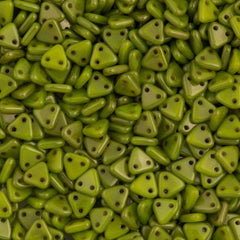 15g CzechMates 6mm Two Hole Triangle Beads Silver Sheen Chartreuse 84020LJ
