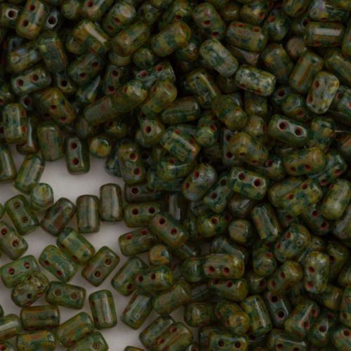 Czech Rulla 3x5mm Two Hole Beads Aquamarine Dark Travertin 15g (60020TD)