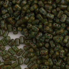 Czech Rulla 3x5mm Two Hole Beads Aquamarine Dark Travertin 20g Tube (60020TD)