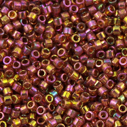 Miyuki Delica Seed Bead 15/0 Transparent Red Gold Luster AB 2-inch Tube DBS103