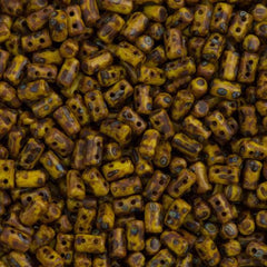 Czech Rulla 3x5mm Two Hole Beads Yellow Dark Travertin 15g (83120TD)