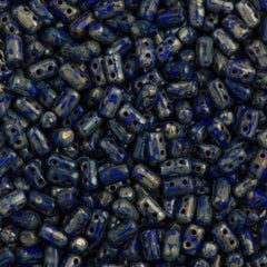 Czech Rulla 3x5mm Two Hole Beads Opaque Blue Picasso 15g (33050T)