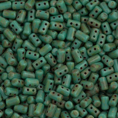 Czech Rulla 3x5mm Two Hole Beads Opaque Turquoise Dark Travertin 20g Tube (63130TD)