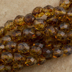 100 Czech Fire Polished 4mm Round Bead Crystal Picasso (00030T)
