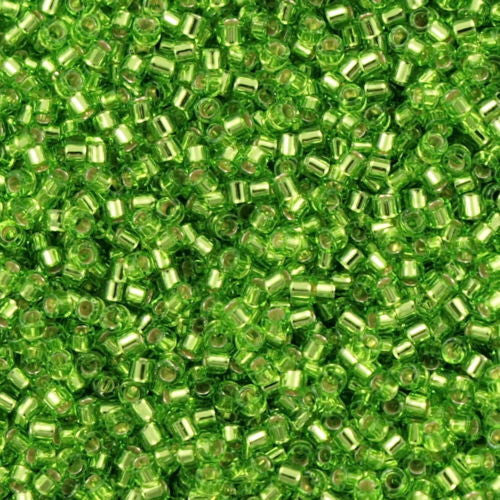 Miyuki Delica Seed Bead 15/0 Silver Lined Green Apple 2-inch Tube DBS1206