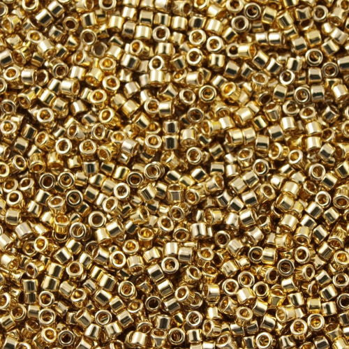 25g Miyuki Delica Seed Bead 11/0 24kt Light Gold Plated DB34