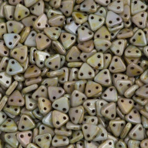 15g CzechMates 6mm Two Hole Triangle Beads Opaque Green Luster 65431P