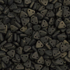 15g CzechMates 6mm Two Hole Triangle Beads Metallic Suede Dark Green 79082
