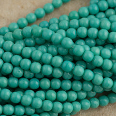 200 Czech 4mm Pressed Glass Round Beads Opaque Turquoise (63130)
