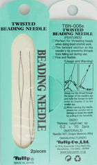 2 Tulip Twisted Beading Needles 70mm Size .2mm