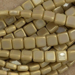 50 CzechMates 6mm Two Hole Tile Beads Brown Iris French Beige (13070BI)