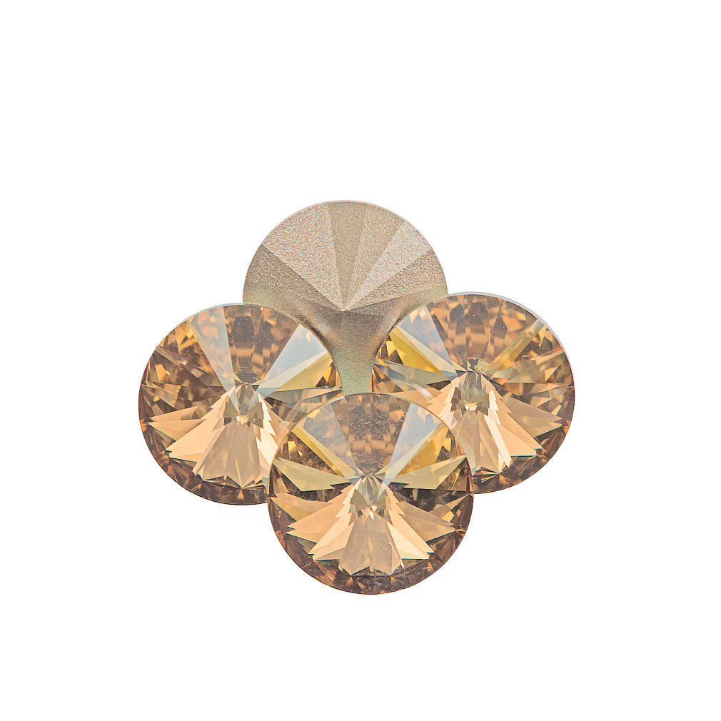 Four Swarovski Crystal 14mm 1122 Rivoli Golden Shadow (001 GSHA)