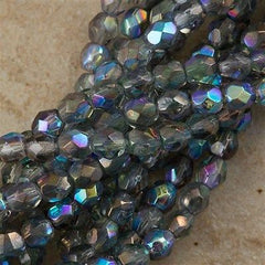 100 Czech Fire Polished 4mm Round Bead Blue Crystal Luster AB (98403)