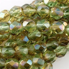 50 Czech Fire Polished 6mm Round Bead Chrysolite Celsian (50800Z)