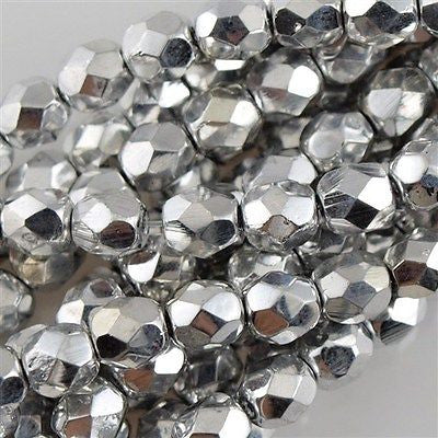 50 Czech Fire Polished 8mm Round Bead Silver (27000)