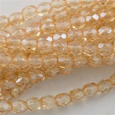 50 Czech Fire Polished 8mm Round Bead Transparent Champagne Luster (14413)