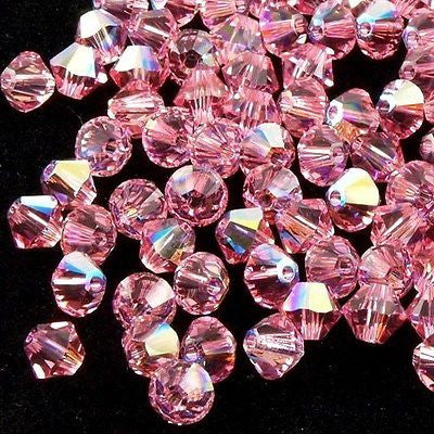 24 Swarovski 5328 Xilion 6mm Bicone Bead Light Rose AB (223 AB)