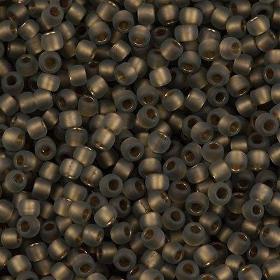 Toho Round Seed Beads 6/0 Inside Color Lined Gold Matte Black Diamond 5.5-inch tube (999F)