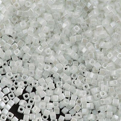 Miyuki 1.8mm Cube Seed Bead Opaque White Luster 15g (420)