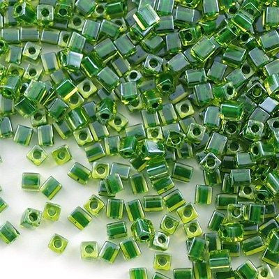 Miyuki 4mm Square Seed Bead Inside Color Lined Peridot Green 19g Tube (2632)