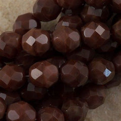 50 Czech Fire Polished 8mm Round Bead Chestnut Coral (17612)