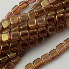 50 CzechMates 6mm Two Hole Tile Beads Luster Rose Gold Topaz (65491)