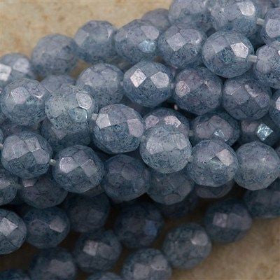 50 Czech Fire Polished 8mm Round Bead Stone Blue Luster (64464)