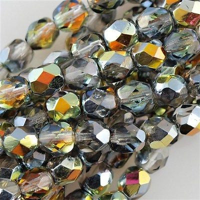 50 Czech Fire Polished 8mm Round Bead Crystal Marea (28001)