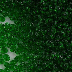 Super Duo 2x5mm Two Hole Beads Transparent Green 22g Tube (50050)