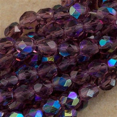 50 Czech Fire Polished 6mm Round Bead Amethyst AB (20060X)