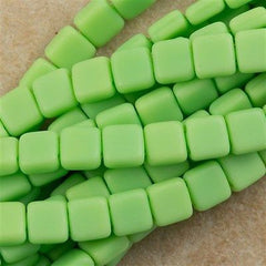 50 CzechMates 6mm Two Hole Tile Beads Matte Spring Green T6-53200M