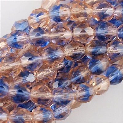 50 Czech Fire Polished 8mm Round Bead Light Pink Blue (37701)
