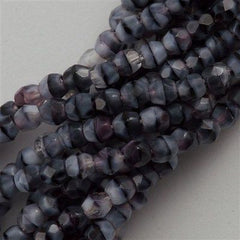 100 Czech Fire Polished 3mm Round Bead Black White Amethyst (26067)