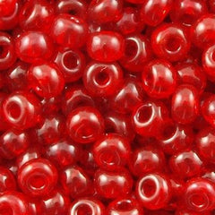 Czech Seed Bead 6/0 Transparent Light Ruby 1/2 Hank (90070)