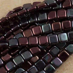 50 CzechMates 6mm Two Hole Tile Beads Ruby Vega (90100E)