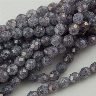 50 Czech Fire Polished 8mm Round Bead Stone Amethyst Luster (64496)