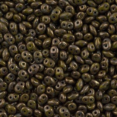 Super Duo 2x5mm Two Hole Beads Opaque Olive Bronze Picasso 15g (53420BT)