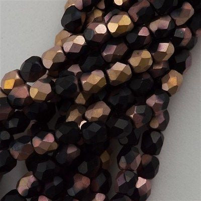 100 Czech Fire Polished 3mm Round Bead Matte Jet Apollo (23980AM)