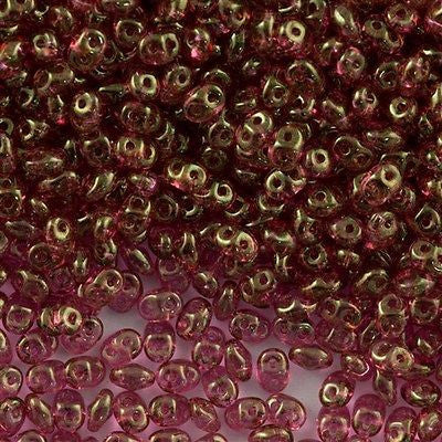 Super Duo 2x5mm Two Hole Beads Crystal Red Luster 15g (14495)