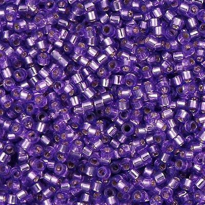 Miyuki Delica Seed Bead 11/0 Transparent Silver Lined Lavender 7g Tube DB1343